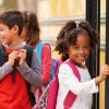 Kids Fall in Line at the Bus in Tacoma, Washington State