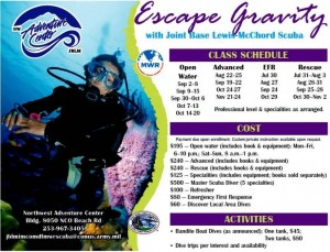 Scuba Class Schedule and Rates in Tacoma, Washington State