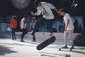 Skateboarding in Rota, Spain