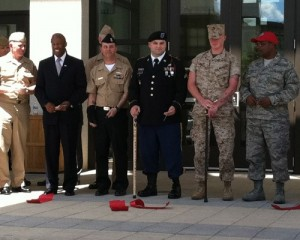 Navy Wounded Warrior Bethesda officer with cane