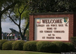 LANGLEY AIR FORCE BASE - HAMPTON- sign